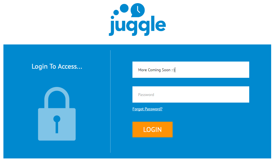 Login Screen for Upcoming Juggle Launch